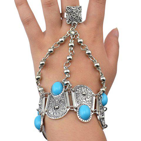 Hot Vintage Alloy Turquoise Geometric Bracelet With Ring For Women