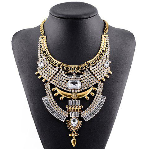 Outfits Vintage Rhinestone Faux Crystal Geometric Hollow Out Necklace For Women