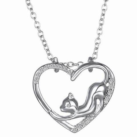 Unique Cute Love Heart Hollow Out Kitten Pendant Necklace For Women SILVER