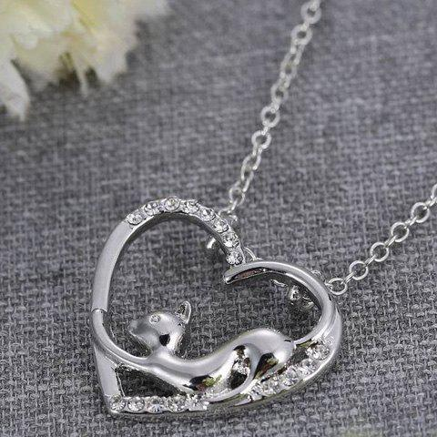 Affordable Cute Love Heart Hollow Out Kitten Pendant Necklace For Women - SILVER  Mobile