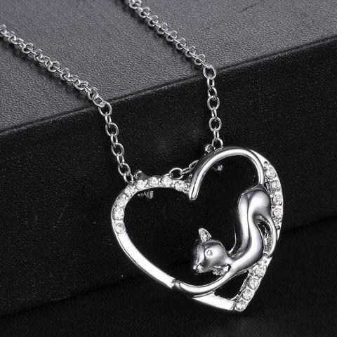 Buy Cute Love Heart Hollow Out Kitten Pendant Necklace For Women - SILVER  Mobile