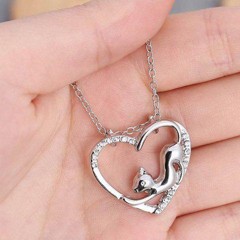 Latest Cute Love Heart Hollow Out Kitten Pendant Necklace For Women - SILVER  Mobile