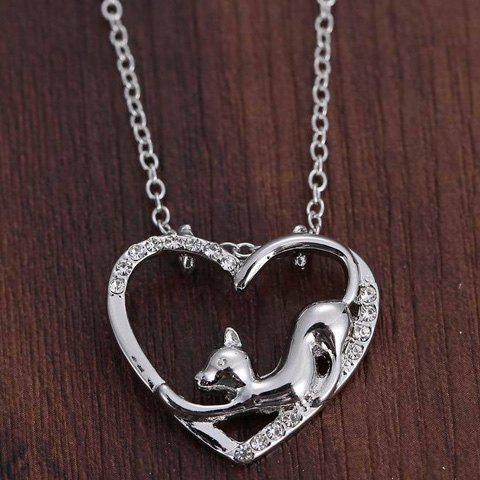 Store Cute Love Heart Hollow Out Kitten Pendant Necklace For Women - SILVER  Mobile