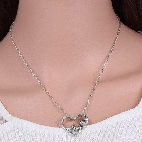 Best Cute Love Heart Hollow Out Kitten Pendant Necklace For Women - SILVER  Mobile