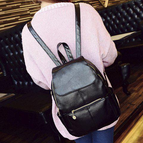 Discount Vintage Style PU Leather and Black Design Women's Backpack -   Mobile