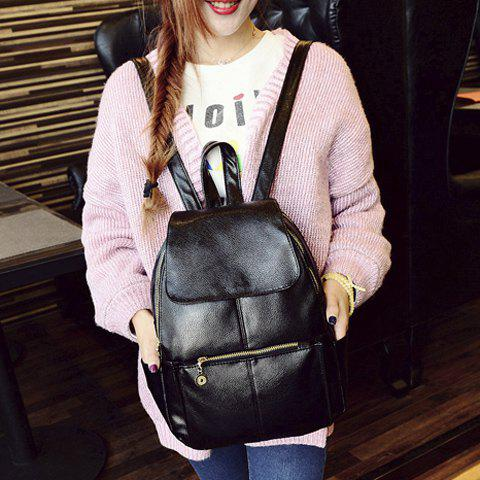 Sale Vintage Style PU Leather and Black Design Women's Backpack -   Mobile