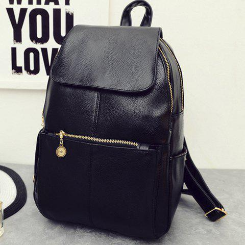 Fancy Vintage Style PU Leather and Black Design Women's Backpack -   Mobile