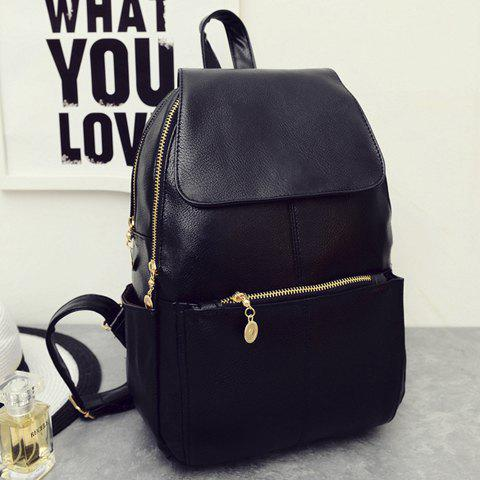 Outfits Vintage Style PU Leather and Black Design Women's Backpack -   Mobile