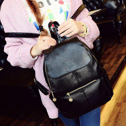 Online Vintage Style PU Leather and Black Design Women's Backpack -   Mobile