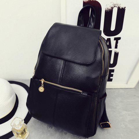 Fashion Vintage Style PU Leather and Black Design Women's Backpack -   Mobile