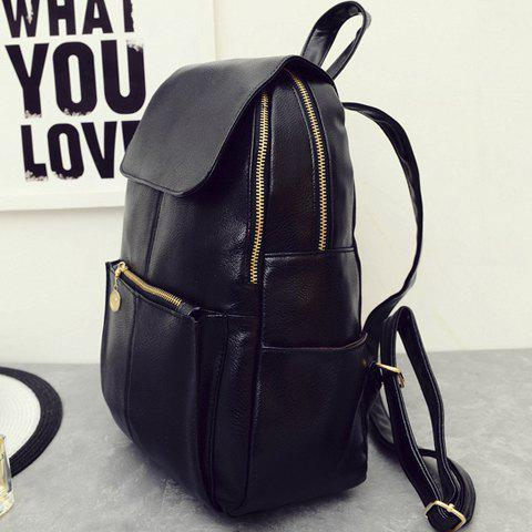 Cheap Vintage Style PU Leather and Black Design Women's Backpack -   Mobile