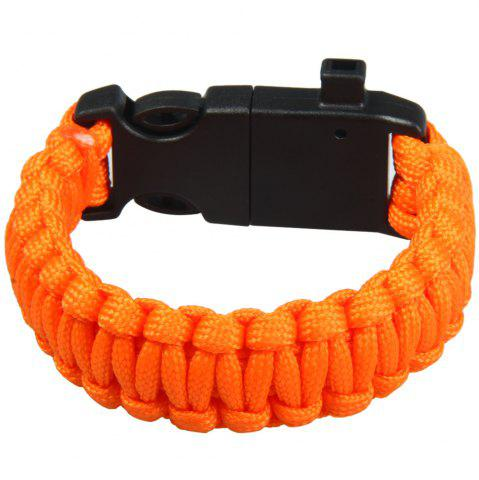 Hot 5 in 1 Outdoor Paracord Bracelet / Fire Starter / Whistle / Compass - ORANGE  Mobile