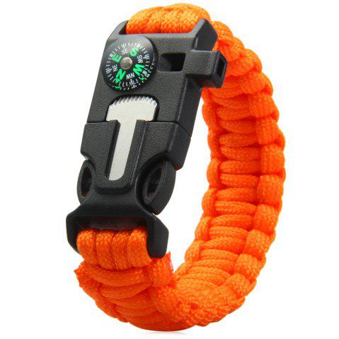 Fashion 5 in 1 Outdoor Paracord Bracelet / Fire Starter / Whistle / Compass - ORANGE  Mobile