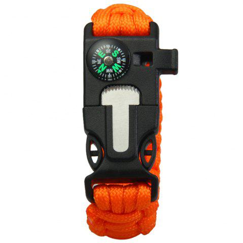 Buy 5 in 1 Outdoor Paracord Bracelet / Fire Starter / Whistle / Compass - ORANGE  Mobile