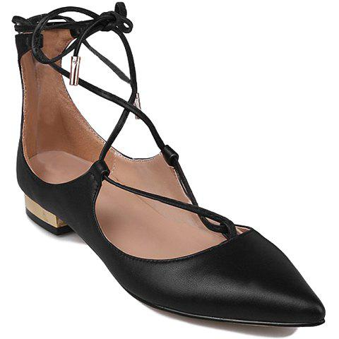 Latest Pretty Cross-Strap and PU Leather Design Women's Flat Shoes