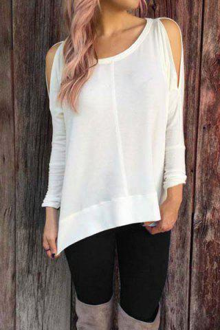 Stylish Scoop Neck Long Sleeve Cut Out Solid Color Women's T-Shirt