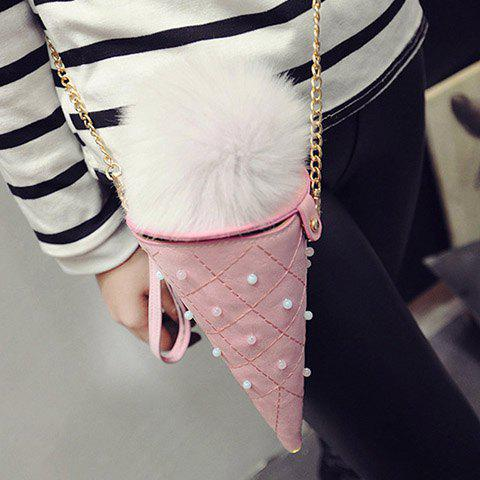 Affordable Cute Argyle and Ice Cream Shape Design Women's Crossbody Bag - PINK  Mobile
