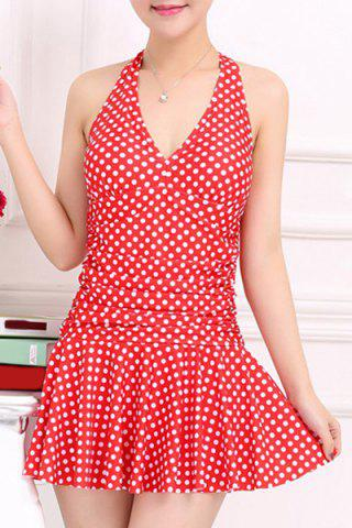 New Stylish V-Neck Halter Polka Dot One-Piece Swimsuit For Women