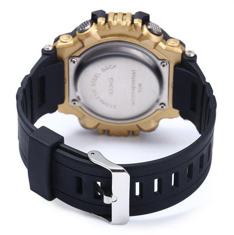 Discount 8338G Alarm Day Date Stopwatch Display Men LED Sports Watch - GOLDEN  Mobile
