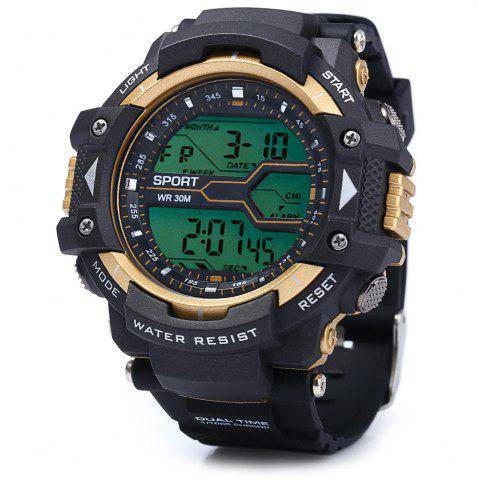 Hot 8338G Alarm Day Date Stopwatch Display Men LED Sports Watch - GOLDEN  Mobile