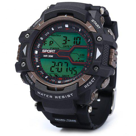 New 8338G Alarm Day Date Stopwatch Display Men LED Sports Watch - GOLDEN  Mobile