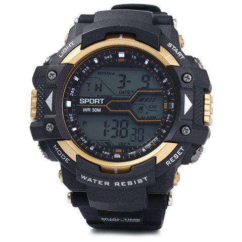 Best 8338G Alarm Day Date Stopwatch Display Men LED Sports Watch - GOLDEN  Mobile