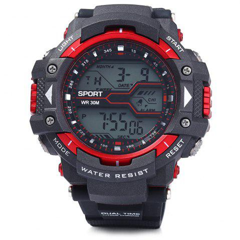 Discount 8338G Alarm Day Date Stopwatch Display Men LED Sports Watch - RED  Mobile
