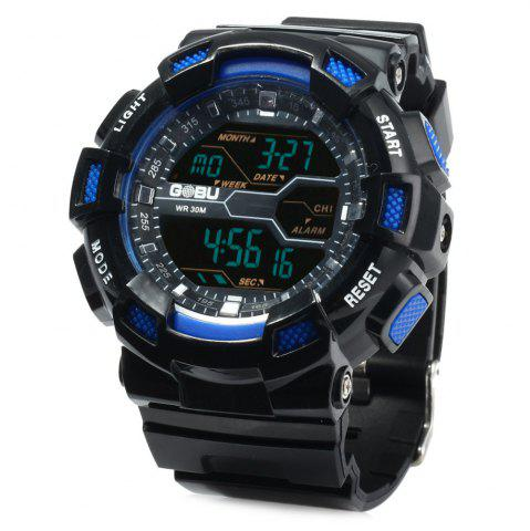 Hot Gobu 1520 Multifunctional Male LED Sports Watch Rubber Band -   Mobile