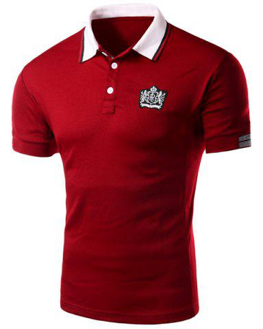 Sleeve Polo T-Shirt Slim Casual Fit Turn Down Collar Solid Color court pour les hommes Rouge XL