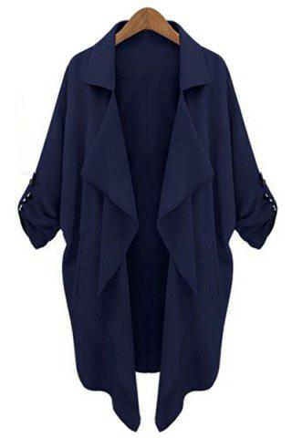 Chic Fashion Lapel Collar Long Sleeve Solid Color Pockets Women's Trench Coat
