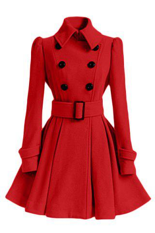 Stylish Turn-Down Collar Long Sleeve Solid Color Belted Wool Women's Dress Coat - Red - L