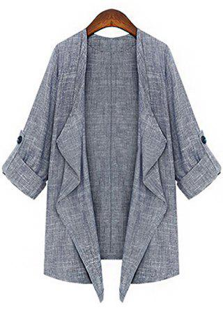 Sale Fashion Lapel Collar 3/4 Sleeve Solid Color Open Front Women's Coat GRAY S