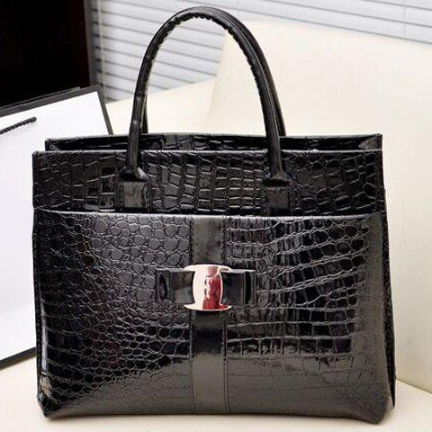 New Fashionable Embossing and Metal Design Women's Tote Bag - BLACK  Mobile