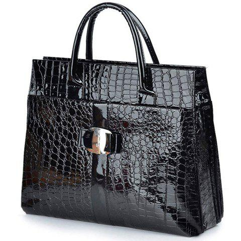 Store Fashionable Embossing and Metal Design Women's Tote Bag - BLACK  Mobile