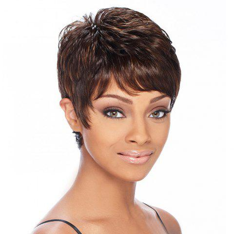 Fashion Brown Mixed Gloden Synthetic Noble Short Side Bang Fluffy Wavy Wig  For Women 50e167bf99