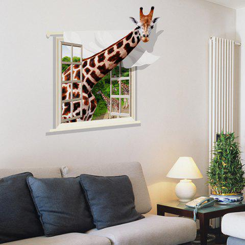 Cheap Chic Giraffe Pattern Window Shape Removeable 3D Wall Sticker - COLORMIX  Mobile