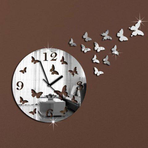Fashion New Butterfly Design Round 3d Home Decor Mirror Wall Clock - SILVER  Mobile