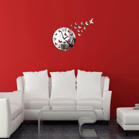 Affordable New Butterfly Design Round 3d Home Decor Mirror Wall Clock - SILVER  Mobile