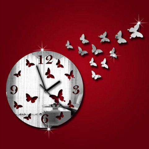 Cheap New Butterfly Design Round 3d Home Decor Mirror Wall Clock - SILVER  Mobile