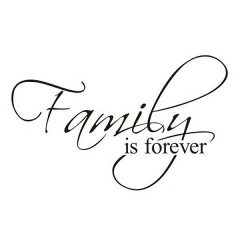 Affordable Removable Words Family Is Forever Solid Color Wall Sticker For Home - BLACK  Mobile