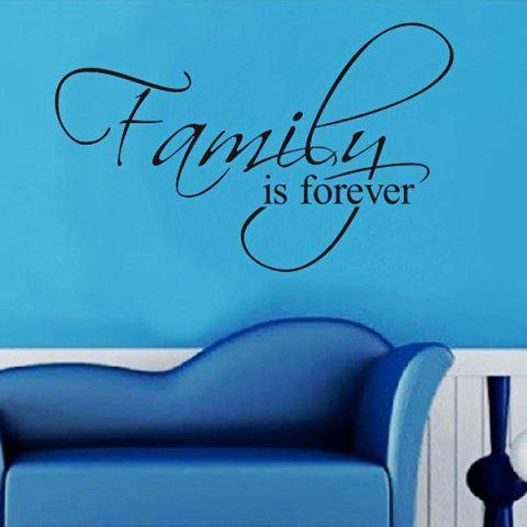 Trendy Removable Words Family Is Forever Solid Color Wall Sticker For Home - BLACK  Mobile