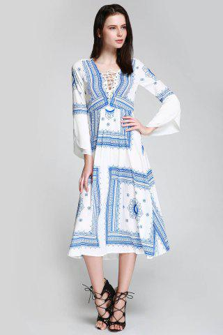 Store Long Sleeve Printed Swing Cut Out Beach Dress BLUE/WHITE S