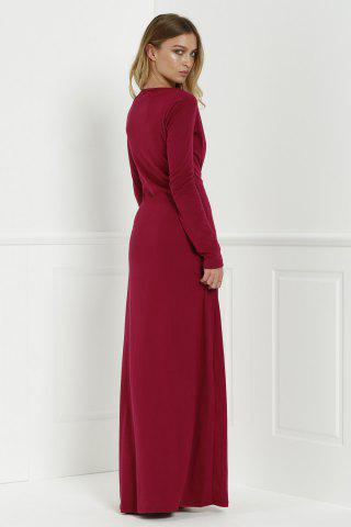 Fashion Maxi Formal Prom Dress with Sleeves - L WINE RED Mobile