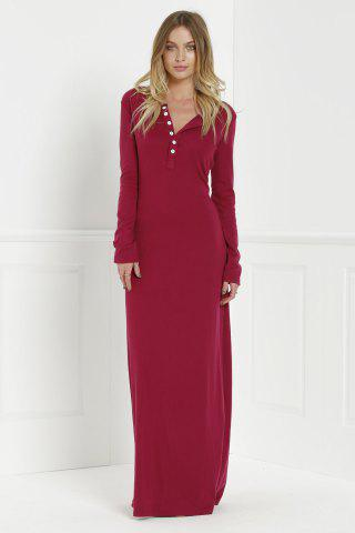 Lady Maxi Formal Prom Dress with Sleeves - L WINE RED Mobile