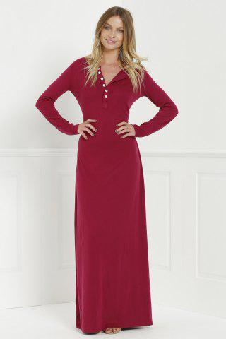 Womens Maxi Formal Prom Dress with Sleeves - L WINE RED Mobile
