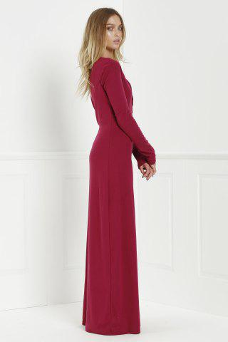Online Maxi Formal Prom Dress with Sleeves - L WINE RED Mobile