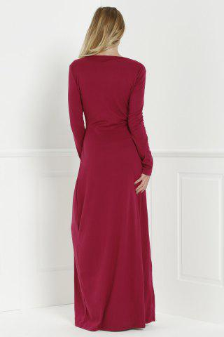 Women's Maxi Formal Prom Dress with Sleeves - L WINE RED Mobile