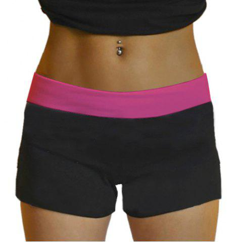 Outfits Active Style Elastic Waist Skinny Color Block Women's Yoga Shorts