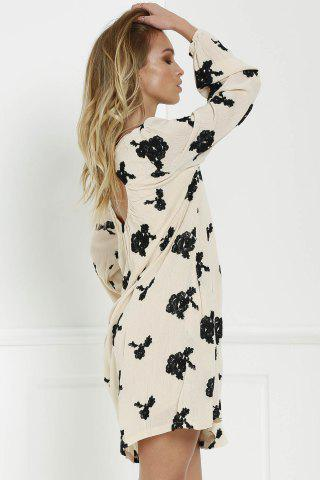 Shop Long Sleeve Floral Embroidered Tunic Dress - S BLACK Mobile