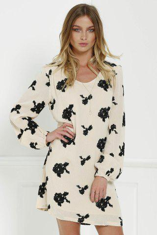 Unique Long Sleeve Floral Embroidered Tunic Dress - S BLACK Mobile